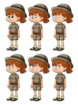 Girl in safari outift with different emotions