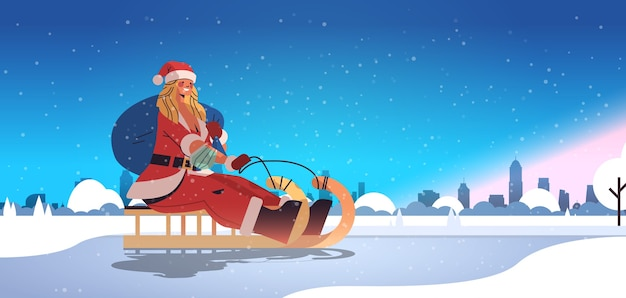 Girl in santa claus costume riding sledge happy new year merry christmas holidays celebration concept winter cityscape background horizontal full length vector illustration