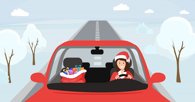 Girl in santa hat driving illustration. woman in christmas costume sitting at front seat of automobile with big bag with presents. female driver character in festive x-mas clothing, winter snowy road