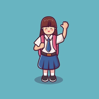 Girl in school uniform a cute female schoolgirl vector back to school background