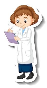 Adesivo personaggio dei cartoni animati di una ragazza in abito scientifico
