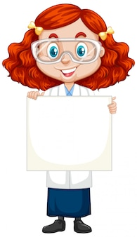 Girl in science gown holding paper on white