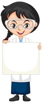 Ragazza in abito scientifico con cartello su sfondo bianco