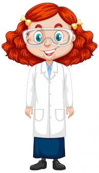 Girl in science gown on white