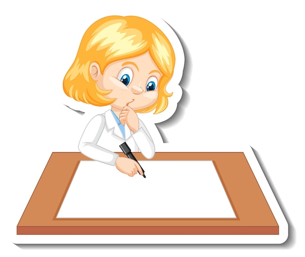 Girl in scientist outfit writing on empty desk Free Vector