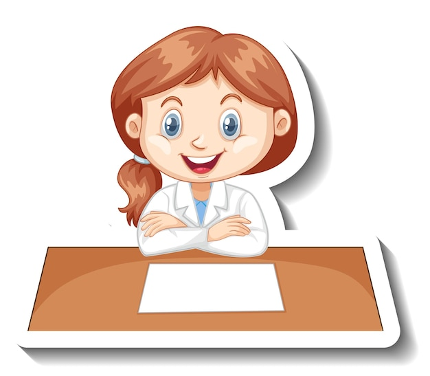 Girl in scientist outfit writing on empty desk