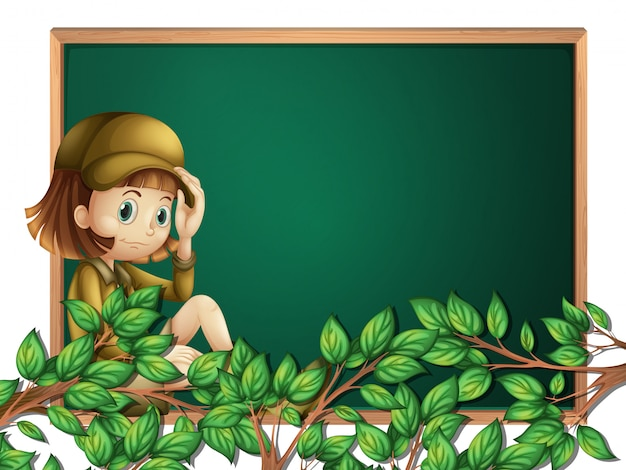 A girl scout on blackboard template