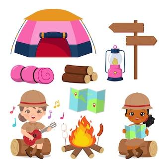 Набор элементов кемпинга для девочек-скаутов летний лагерь картинки плоский векторный мультяшный дизайн