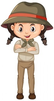 Girl in scout uniform on white