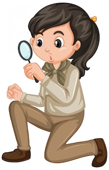 Girl in scout uniform with magnifying glass on white