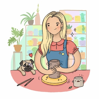 Girl sculpts from clay on a potter's wheel with a pug