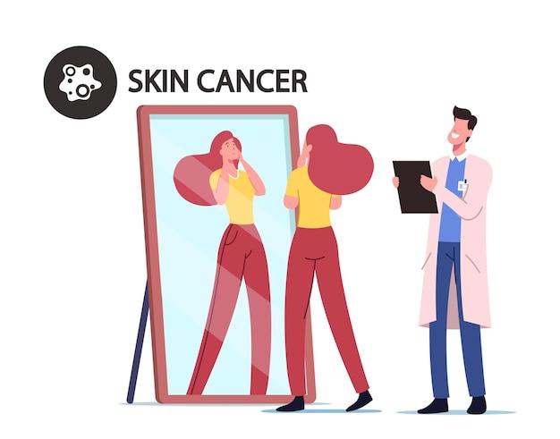 거울 앞에서 위험한 반점을 찾는 소녀, 피부과 의사 종양 전문의가 클립보드에 메모를 작성합니다.