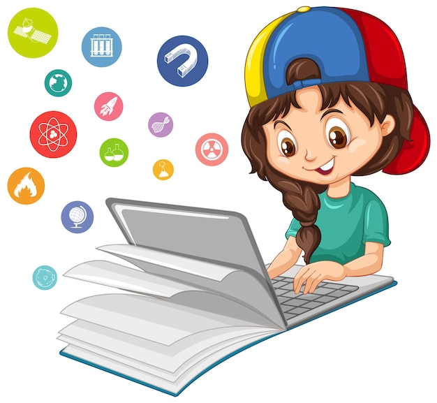 Girl searching on laptop with education icon isolated