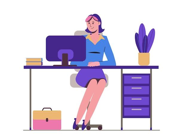 女の子の秘書がテーブルに座っています。サラリーマン。コンピューターで作業します。