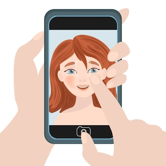 Girl selfie internet talking business