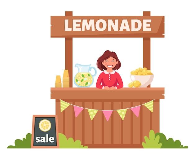 레모네이드 스탠드에서 차가운 레모네이드를 파는 소녀 여름 차가운 음료