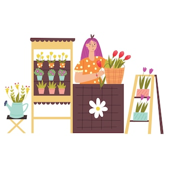 A girl sells flowers at stall counters. modern vector flat illustration in cartoon style