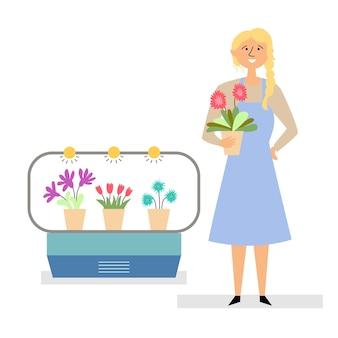 Девушка продает цветы