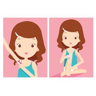 Girl shaving armpit and waxing leg