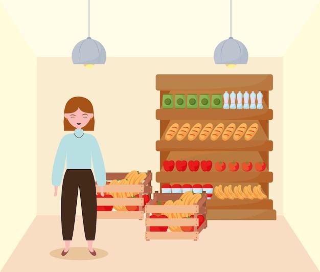 Girl shopping food
