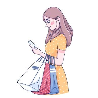 온라인 문자 만화 그림 쇼핑 소녀입니다.