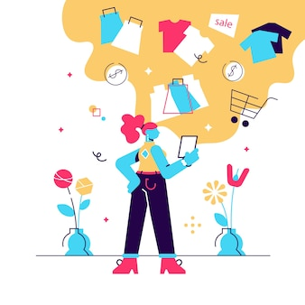 Girl shopping online flat vector illustration. young woman buying, ordering clothes in internet store.