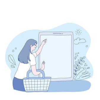 Girl shopping online on website