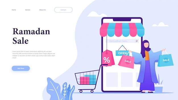 Girl shopping in ramadan sale with landing page concept