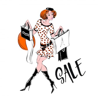 The girl shopping spree. sale.discounts. purchases. confessions of a shopaholic.