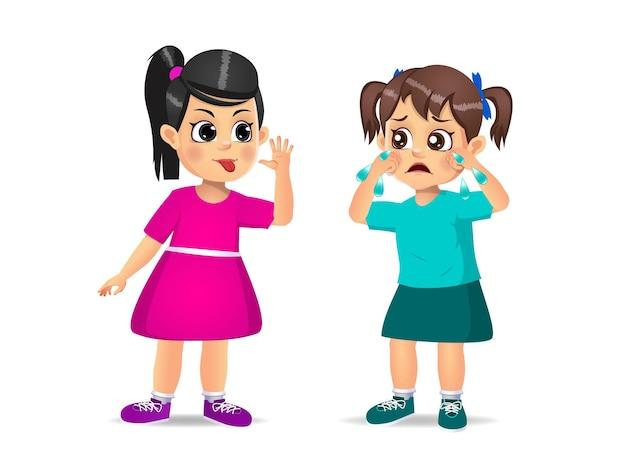 Девушка показывает гримасу лицом к девушке, пока она не заплачет. изолированные