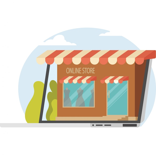 A girl showing an online store on phone screen illustration