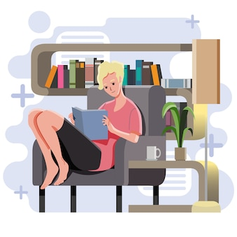 Girl sit on sofa reading book