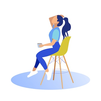 Girl sits on high chair with cup. straightens hair