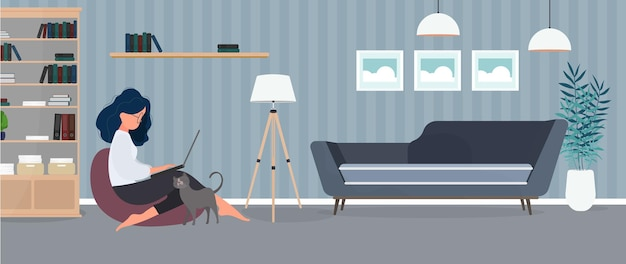The girl sits on an ottoman and works at a laptop. a woman with a laptop sits on a large pouf. the cat rubs against the girls leg. the concept of comfortable work in the office or at home. vector.
