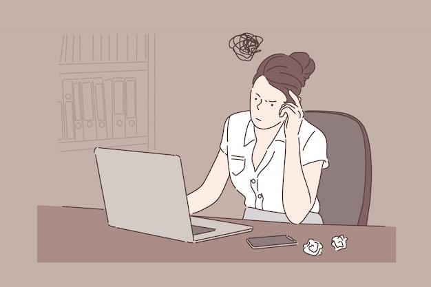 オフィスのコンピューターで働く実業家の机に座っている女の子。ラップトップで入力する女性、紙をくしゃくしゃにする、思考プロセス、アイデアの検索。シンプルフラット