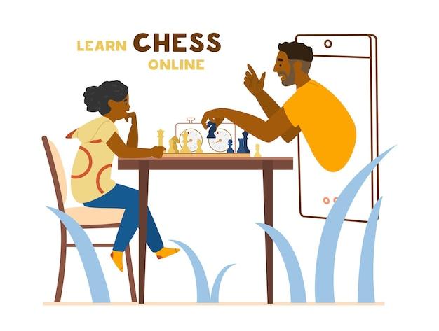 チェス盤とチェスタイマーでテーブルに座っている女の子