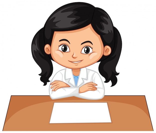 Girl sitting on desk on white