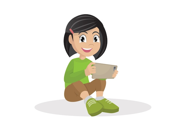 Girl sitting on the floor with a tablet computer in hands.