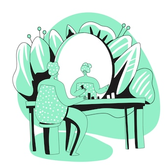 소녀, 거울 앞에 앉아 매일 아침 일상 생활, 클렌징 또는 보습. 개인 관리, 스킨 케어 일상, 위생 절차. 플랫 만화 일러스트 레이션
