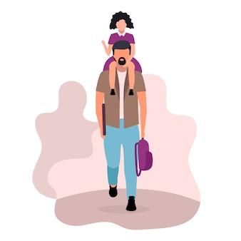 Девушка сидит на шее отца плоской иллюстрации Premium векторы