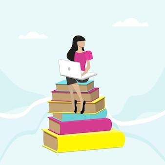 노트북도 서의 더미에 앉아 소녀입니다. 전자 학습 및 자습서 개념의 평면 그림입니다.