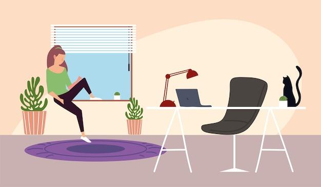 방 그림에서 작업 공간 창에 앉아 소녀