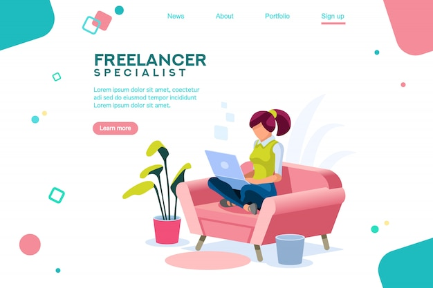Girl sitting on sofa isometric landing page