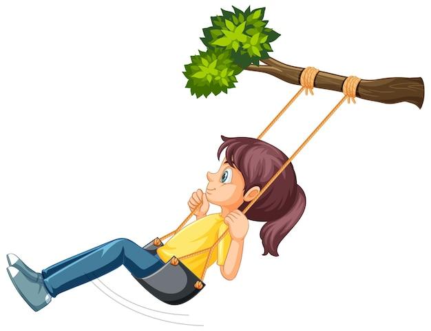 Ragazza seduta sull'altalena appesa al ramo di un albero