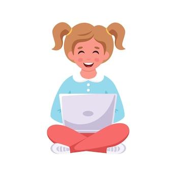 ノートパソコンを持って座っている女の子オンライン学習学校に戻る