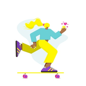 Girl on skateboard with mobile phone. vector  flat illustration.