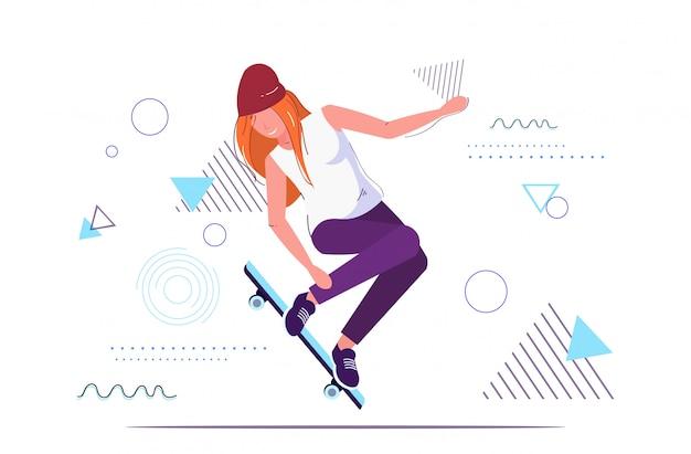 Девушка фигурист прыгает на скейтборде, выполняя трюки концепция скейтбординга девушка подросток
