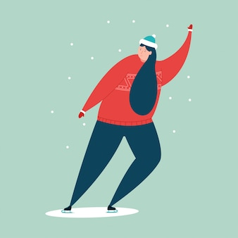 Girl skates on the ice rink