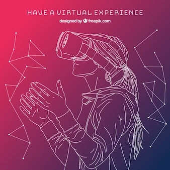 Girl sketch in virtual reality background