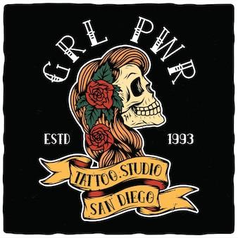 Girl skull illustration